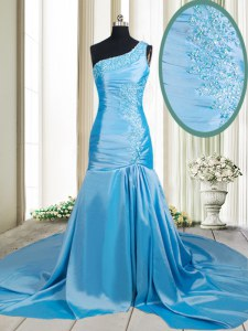 Deluxe Mermaid One Shoulder Baby Blue Prom Dresses Elastic Woven Satin Brush Train Sleeveless Beading and Appliques