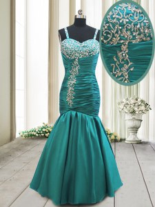 New Arrival Mermaid Straps Teal Lace Up Dress for Prom Beading and Ruching Sleeveless Floor Length