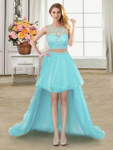 Admirable Aqua Blue Tulle Zipper Scoop Sleeveless High Low Evening Dress Beading