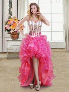 Edgy Sleeveless Organza High Low Lace Up Evening Dress in Hot Pink with Beading and Ruffles