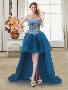 Custom Design Teal Ball Gowns Beading Prom Dress Lace Up Tulle Sleeveless High Low