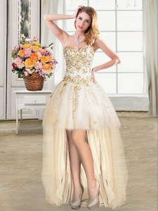 Fantastic High Low Champagne Prom Dresses Sweetheart Sleeveless Lace Up