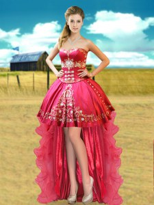 Stunning Sweetheart Sleeveless Lace Up Prom Dress Hot Pink Organza and Taffeta