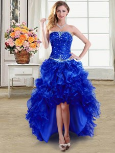 Fashionable Royal Blue Sleeveless Organza Lace Up Dress for Prom for Prom and Party