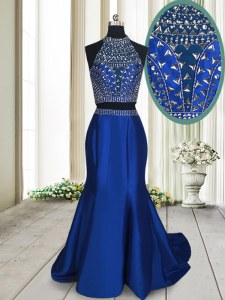 Delicate Sleeveless Satin With Train Sweep Train Criss Cross Prom Dresses in Royal Blue with Beading