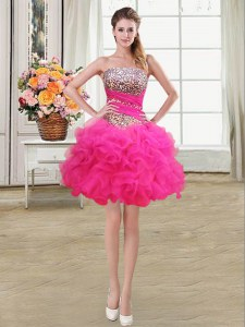 Hot Selling Hot Pink Cocktail Dress Prom and Party and For with Beading and Ruffles and Ruffled Layers and Sequins Strapless Sleeveless Lace Up