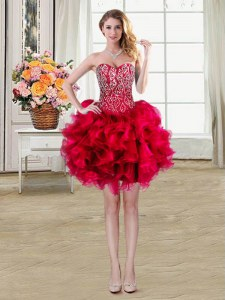 Ball Gowns Prom Dress Red Sweetheart Organza Sleeveless Mini Length Lace Up
