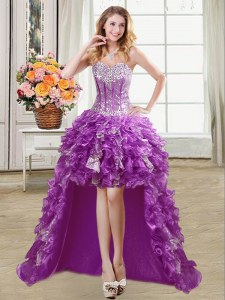 Super Sleeveless Organza High Low Lace Up Prom Party Dress in Purple with Ruffles and Sequins