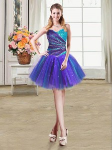 Multi-color Tulle Lace Up Sweetheart Sleeveless Mini Length Prom Gown Beading and Ruffles