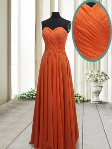 Glamorous Column/Sheath Prom Dresses Orange Red Sweetheart Chiffon Sleeveless Floor Length Lace Up