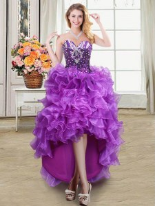 Beading and Ruffles Evening Dress Eggplant Purple Lace Up Sleeveless High Low