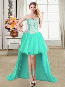 Dramatic Beading and Ruffles and Pick Ups Prom Party Dress Turquoise Lace Up Sleeveless High Low
