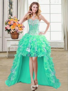 Enchanting High Low Lace Up Dress for Prom Turquoise for Prom and Party with Ruffles and Sequins