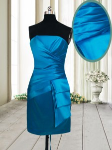 Custom Design Teal Sleeveless Mini Length Ruching Lace Up Homecoming Dress
