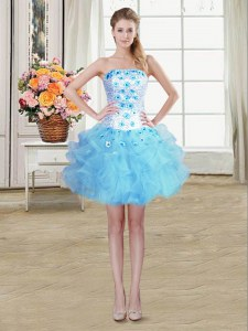 Baby Blue Sleeveless Beading and Appliques and Ruffles Mini Length Dress for Prom