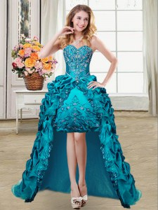 Edgy High Low Teal Prom Party Dress Taffeta Sleeveless Embroidery and Pick Ups