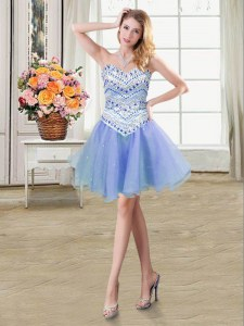 Free and Easy Sweetheart Sleeveless Prom Party Dress Mini Length Beading Lavender Organza