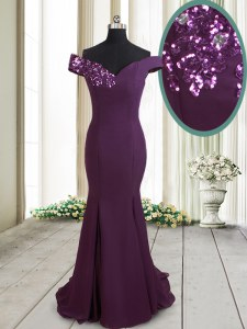 Mermaid Off The Shoulder Sleeveless Homecoming Dress Brush Train Beading and Sequins Dark Purple Chiffon