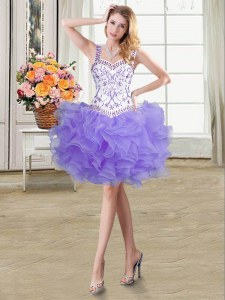 Colorful Lavender Lace Up Straps Beading and Ruffles Evening Dress Organza Sleeveless