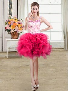 Shining Straps Hot Pink Sleeveless Mini Length Beading and Lace and Ruffles Lace Up Club Wear