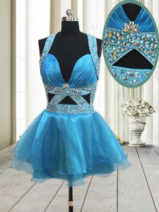 Halter Top Baby Blue Backless Prom Party Dress Beading Sleeveless Mini Length