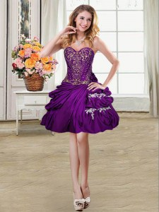 Flare Sleeveless Taffeta Mini Length Lace Up Prom Dress in Purple with Beading and Appliques and Pick Ups