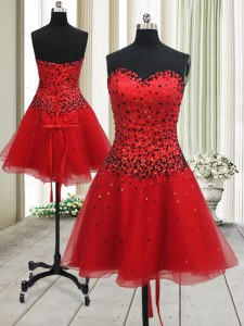 Luxury Beading Dress for Prom Red Lace Up Sleeveless Mini Length