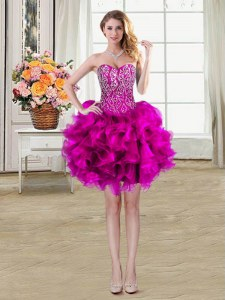 Sleeveless Organza Mini Length Lace Up Prom Evening Gown in Fuchsia with Beading and Ruffles