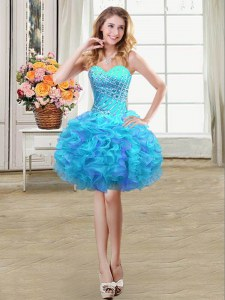Sweetheart Sleeveless Cocktail Dresses Mini Length Beading and Ruffles Multi-color Organza