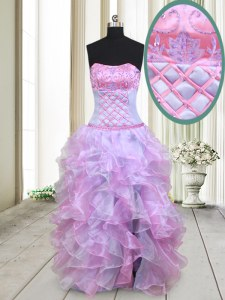 Pretty Organza Strapless Sleeveless Lace Up Beading and Ruffles Evening Dress in Multi-color