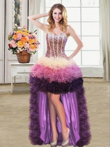 Free and Easy High Low Ball Gowns Sleeveless Multi-color Prom Dress Lace Up