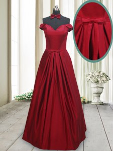 New Style Wine Red Prom Party Dress Prom and For with Ruching and Bowknot Off The Shoulder Sleeveless Lace Up
