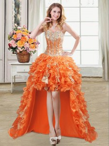 Fashion Orange Sweetheart Neckline Beading and Ruffles and Sequins Homecoming Dress Sleeveless Lace Up