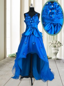 Suitable V-neck Sleeveless Organza Prom Evening Gown Beading and Appliques and Bowknot Zipper
