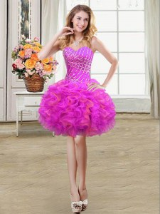 Popular Sleeveless Mini Length Beading and Ruffles Lace Up Homecoming Dress with Multi-color