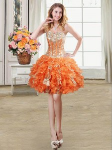 Decent Orange Sleeveless Beading and Ruffles and Sequins Mini Length Prom Gown