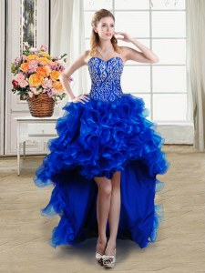 Edgy High Low Royal Blue Dress for Prom Organza Sleeveless Beading and Ruffles