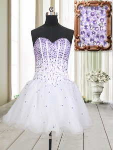 Great Sleeveless Beading Lace Up Prom Gown
