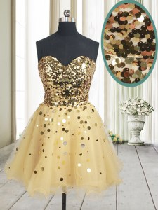 Fabulous Sequins Gold Sleeveless Organza Zipper Homecoming Dress for Prom and Party