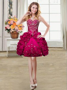 Flare Sweetheart Sleeveless Prom Evening Gown Mini Length Beading and Embroidery and Pick Ups Fuchsia Organza and Taffeta