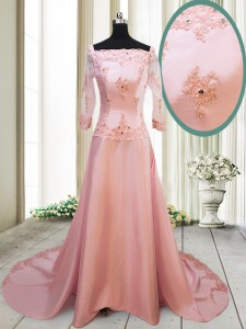Dramatic Square Peach Zipper Dress for Prom Beading and Appliques Long Sleeves With Brush Train