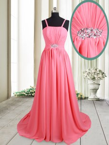 Designer Straps Empire Sleeveless Pink Prom Dresses Brush Train Lace Up