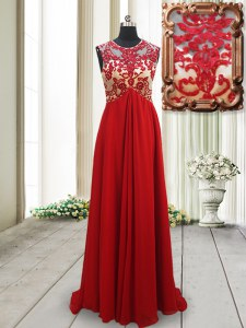 Red Empire Scoop Sleeveless Chiffon Brush Train Backless Appliques Prom Party Dress