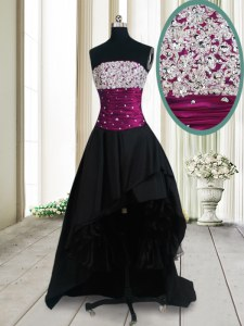 Perfect Black A-line Taffeta Strapless Sleeveless Beading High Low Lace Up Evening Dress