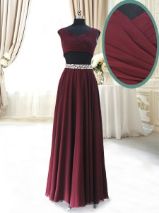 Traditional Burgundy Zipper Homecoming Dress Beading and Belt Cap Sleeves Ankle Length