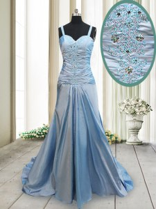 Light Blue Straps Neckline Beading Prom Evening Gown Sleeveless Criss Cross