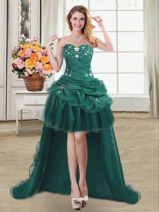 Sweetheart Sleeveless High Low Beading and Appliques and Pick Ups Dark Green Organza