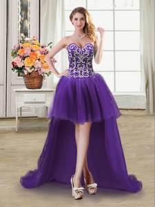 Fashion Sequins Ball Gowns Pageant Dresses Purple Sweetheart Tulle Sleeveless High Low Lace Up