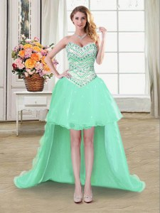 Vintage Sweetheart Sleeveless Organza Prom Dresses Beading Lace Up