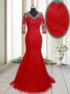 Best Mermaid V-neck Half Sleeves Tulle Prom Evening Gown Lace Brush Train Clasp Handle